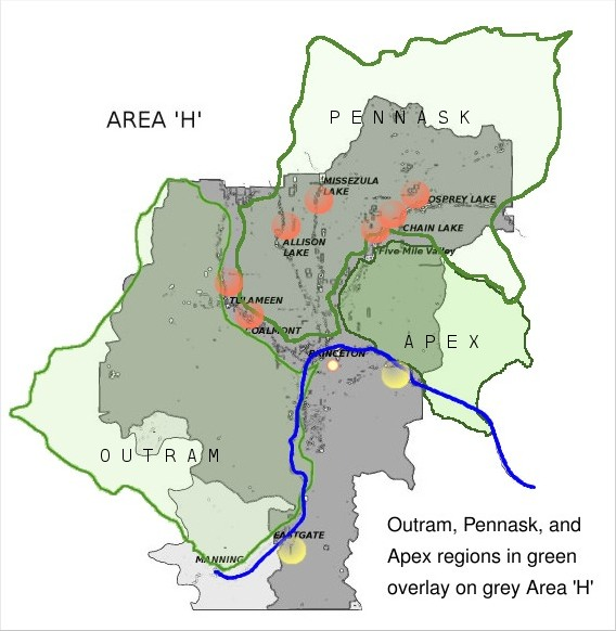 Outram, Pannask, and Apex mountain regions with Similkameen at the bottom.